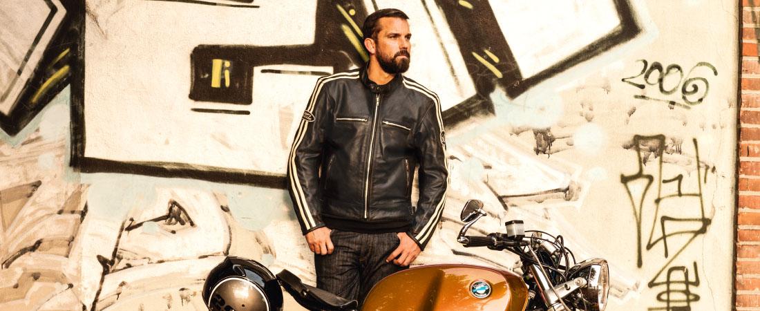 DIFI SAINT LOUIS Motorradjacke Leder Retro